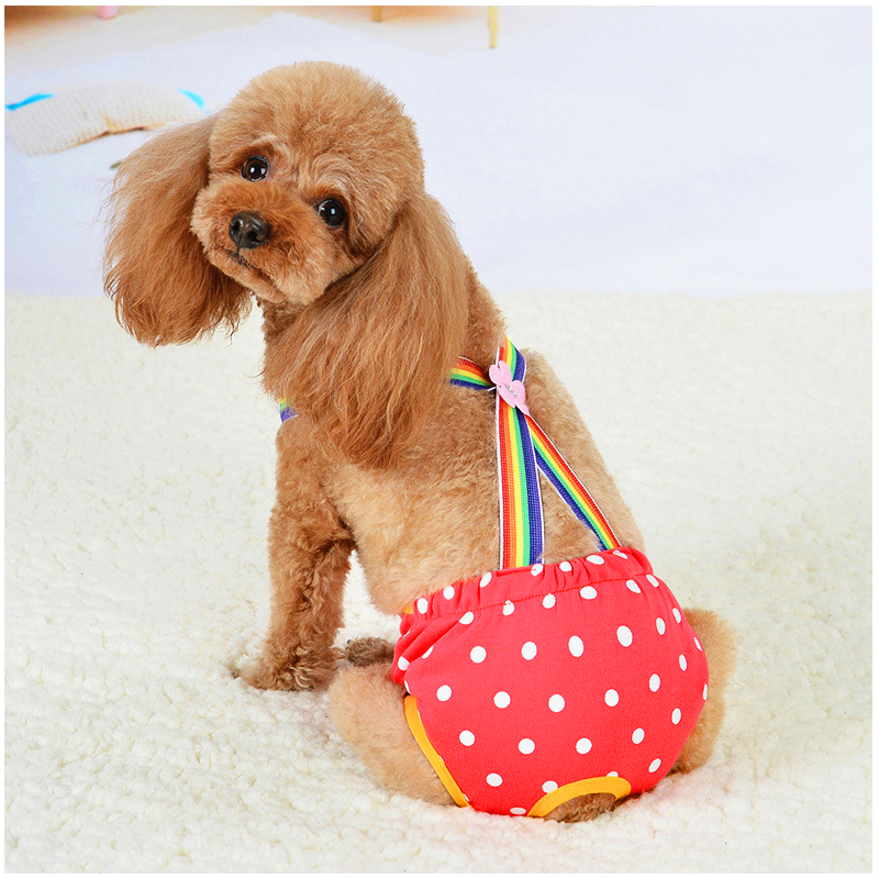 Size M Female Pet Dog Cotton Sanitary Physiological Pants Underwear Nappy Diapers - Red Point