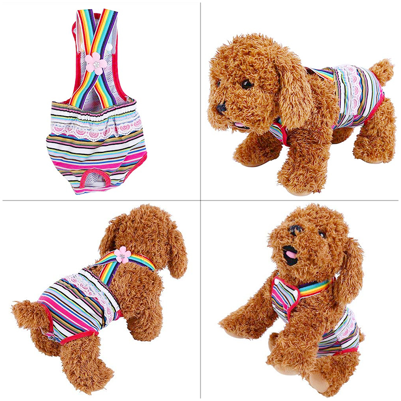 Size M Female Pet Dog Cotton Sanitary Physiological Pants Underwear Nappy Diapers - Pink Strips