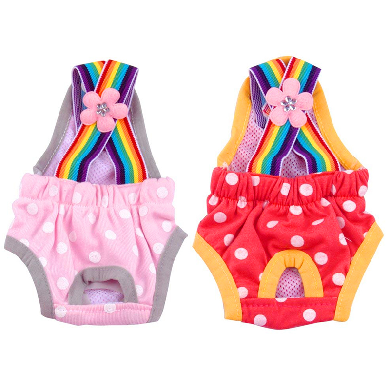 Size L Female Pet Dog Cotton Sanitary Physiological Pants Underwear Nappy Diapers - Pink Point