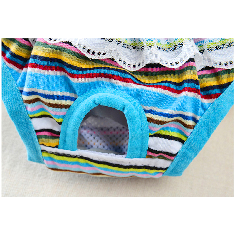 Size L Female Pet Dog Cotton Sanitary Physiological Pants Underwear Nappy Diapers - Blue Strips