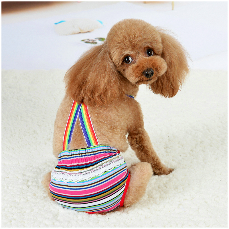 Size L Female Pet Dog Cotton Sanitary Physiological Pants Underwear Nappy Diapers - Pink Strips