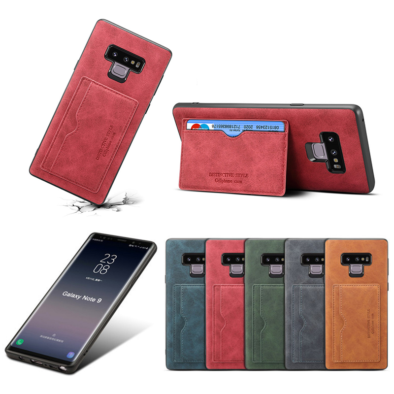 Ultra-Thin Vintage PU Leather Back Cover Card Slot Wallet Flip Stand Case for Samsung Note 9 - Red