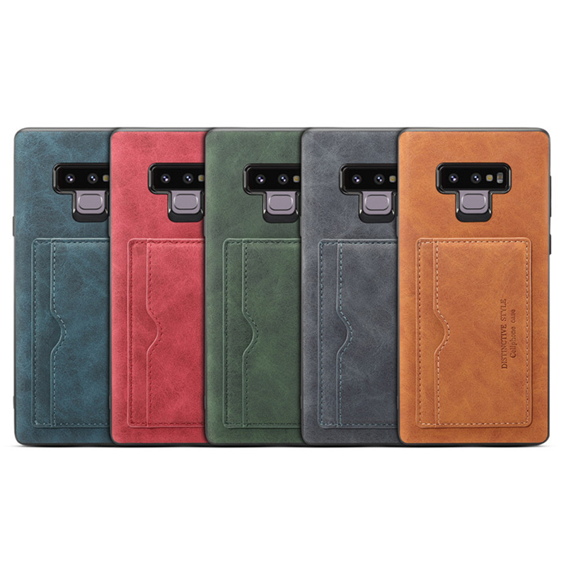 Ultra-Thin Vintage PU Leather Back Cover Card Slot Wallet Flip Stand Case for Samsung Note 9 - Green