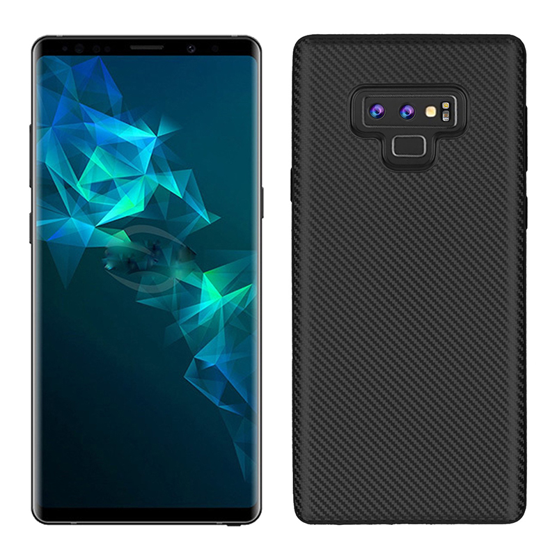 Luxury Carbon Fiber Soft TPU Rubber Shockproof Case Back Cover for Samsung Note 9 - Black