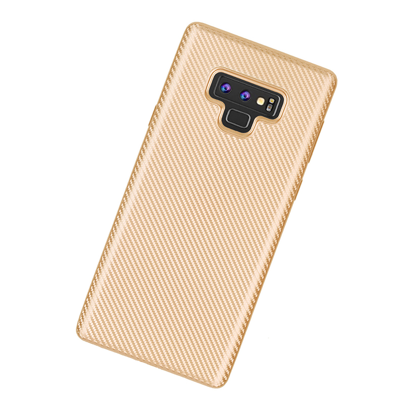 Luxury Carbon Fiber Soft TPU Rubber Shockproof Case Back Cover for Samsung Note 9 - Golden