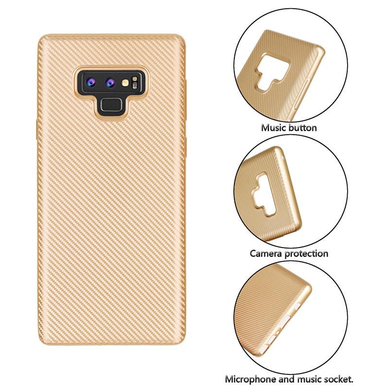 Luxury Carbon Fiber Soft TPU Rubber Shockproof Case Back Cover for Samsung Note 9 - Golden