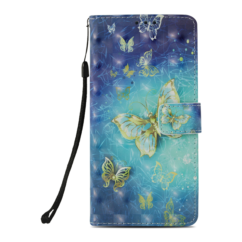 Butterfly Painted Pattern PU Leather Case Magnetic Wallet Flip Stand Cover for Samsung Note 9 - Butterfly 2