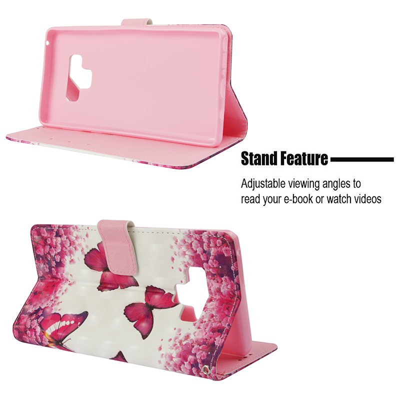 Butterfly Painted Pattern PU Leather Case Magnetic Wallet Flip Stand Cover for Samsung Note 9 - Butterfly 4