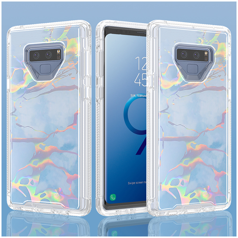 Marble Texture Hard PC Soft TPU Bump Case Full Body Protection Back Cover for Samsung Note 9 - Blue