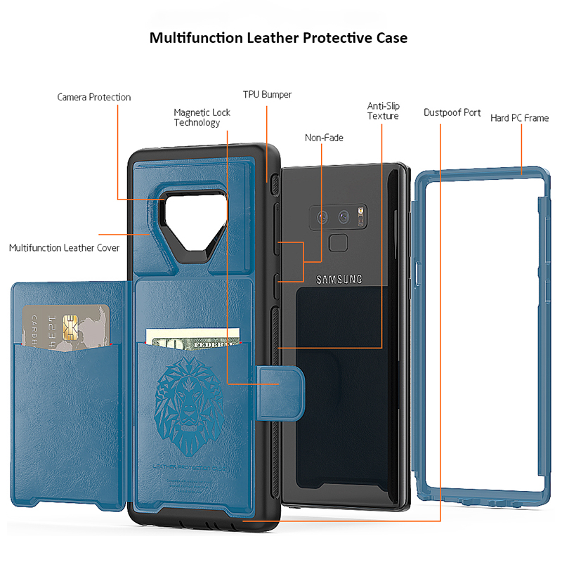 Magnetic Car Mount PU Leather Back Cover Card Slot Kickstand Case for Samsung Note 9 - Blue