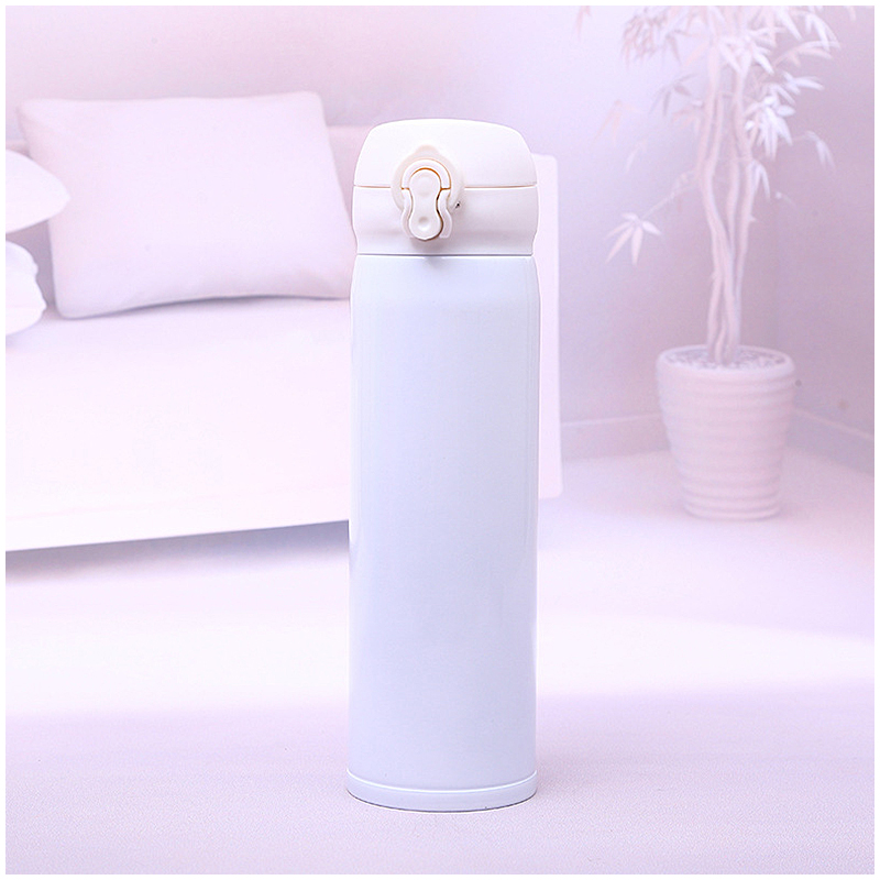 500ML Bounce Switch Water Flask Travel Stainless Steel Vacuum Insulated Bottle - White