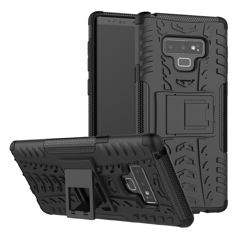 Shockproof Rugged Armor Kickstand Case Cool Hybrid PC+TPU Bumper Back Cover for Samsung Note 9 - Black