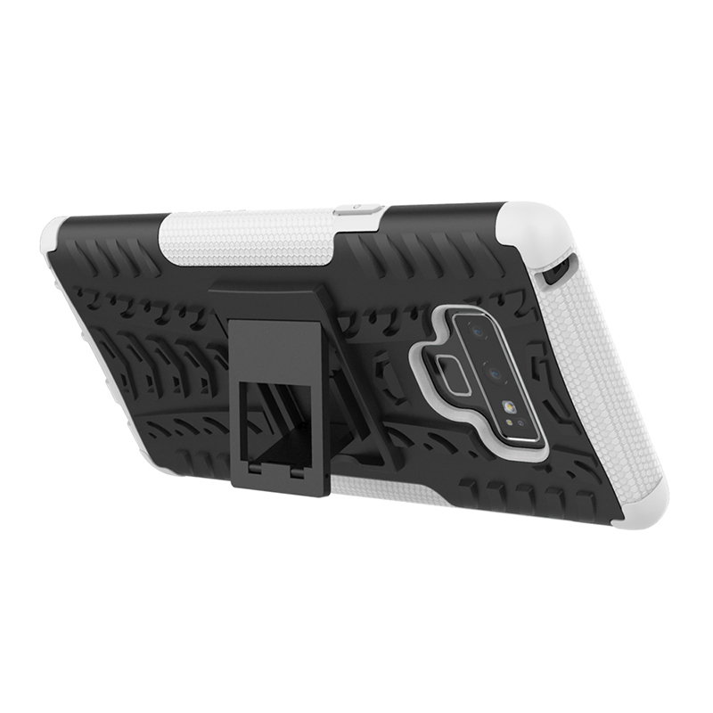 Shockproof Rugged Armor Kickstand Case Cool Hybrid PC+TPU Bumper Back Cover for Samsung Note 9 - White