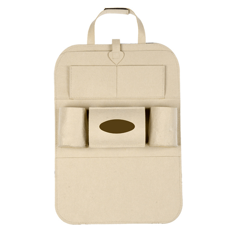 Car Back Seat Organizer Holder Universal Multi-Pocket Felt Cloth Backseat Storage Bag - Beige