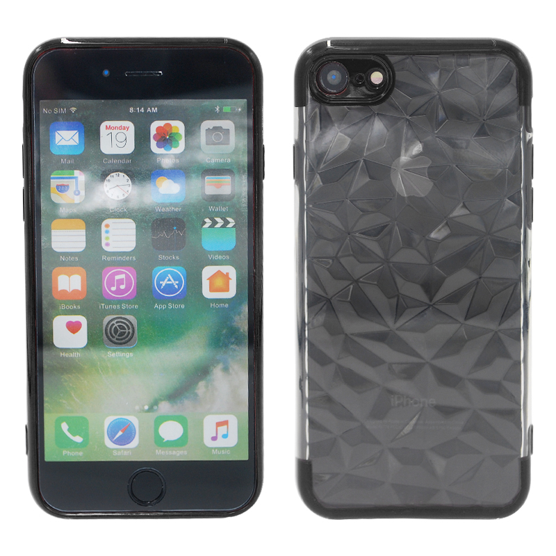 Diamond Painted Soft Clear TPU Shockproof Case Back Cover for iPhone 7/8 - Black