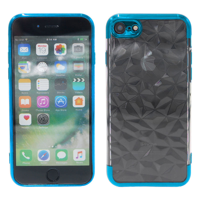 Diamond Painted Soft Clear TPU Shockproof Case Back Cover for iPhone 7/8 - Blue