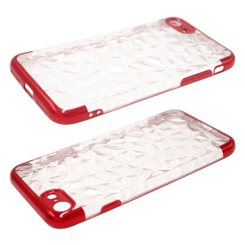 Diamond Painted Soft Clear TPU Shockproof Case Back Cover for iPhone 7/8 - Red