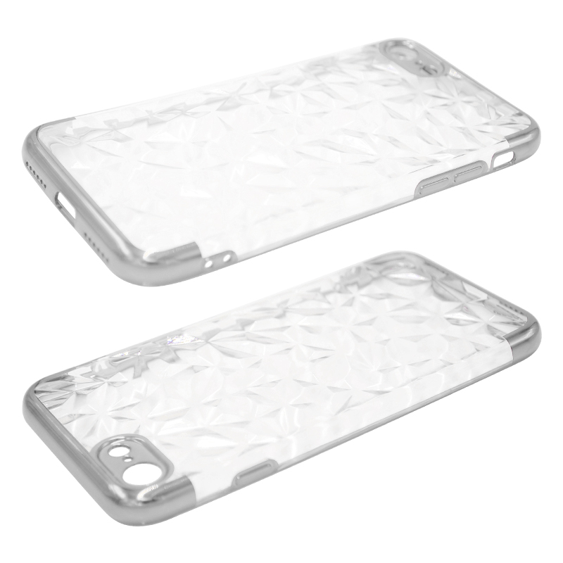 Diamond Painted Soft Clear TPU Shockproof Case Back Cover for iPhone 7/8 - Silver