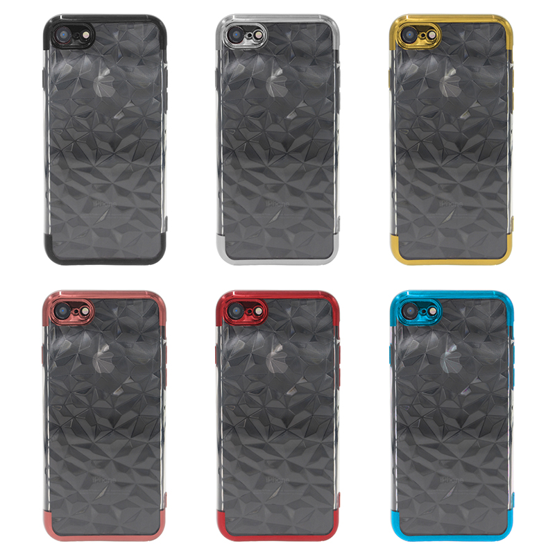 Diamond Painted Soft Clear TPU Shockproof Case Back Cover for iPhone 7/8 - Golden