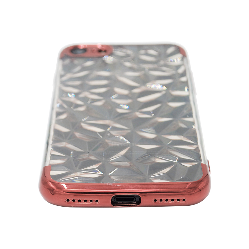 Diamond Painted Soft Clear TPU Shockproof Case Back Cover for iPhone 7/8 - Rose Golden