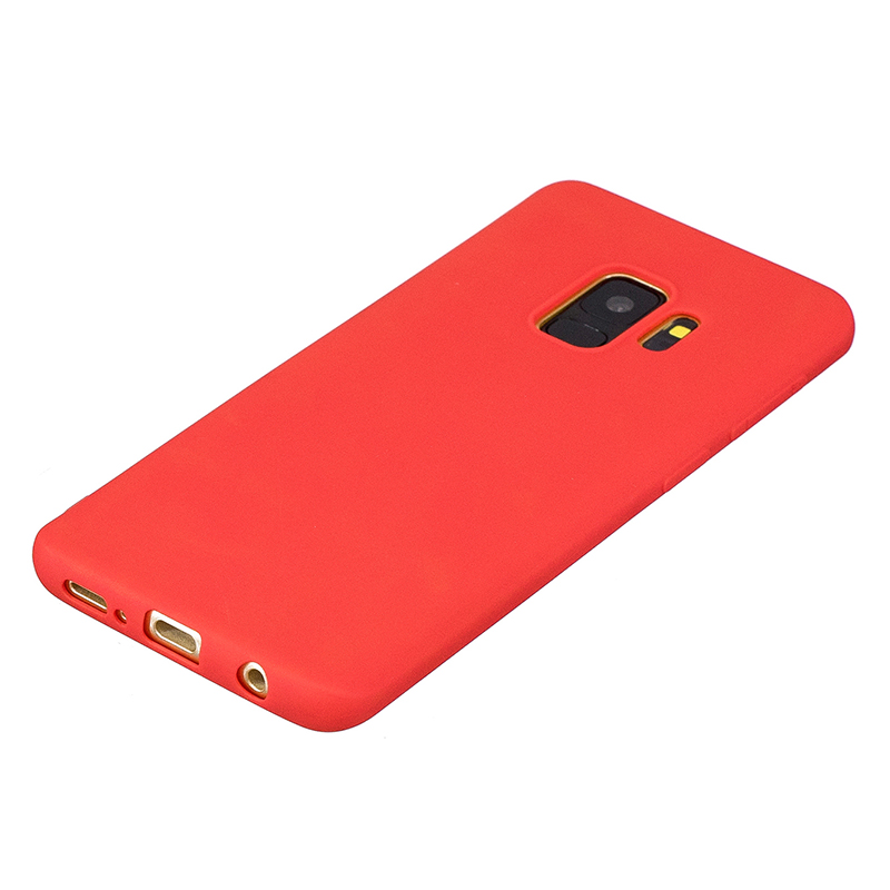 Slim Flexible Soft Rubber TPU Shockproof Case Back Cover for Samsung S9 - Red