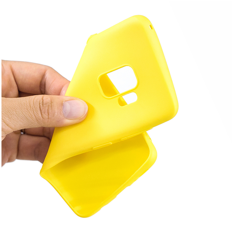Slim Flexible Soft Rubber TPU Shockproof Case Back Cover for Samsung S9 - Yellow