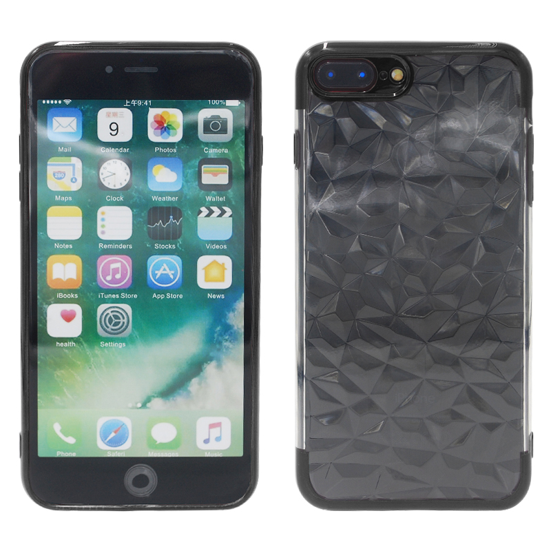 Transparent TPU Silicone Case 3D Diamond Pattern Back Cover for iPhone 7/8 Plus - Black