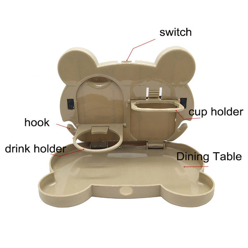 Foldable Car Back Seat Tray Drink Bottle Cup Holder Dining Table Food Organizer for Travel - Brown Bear