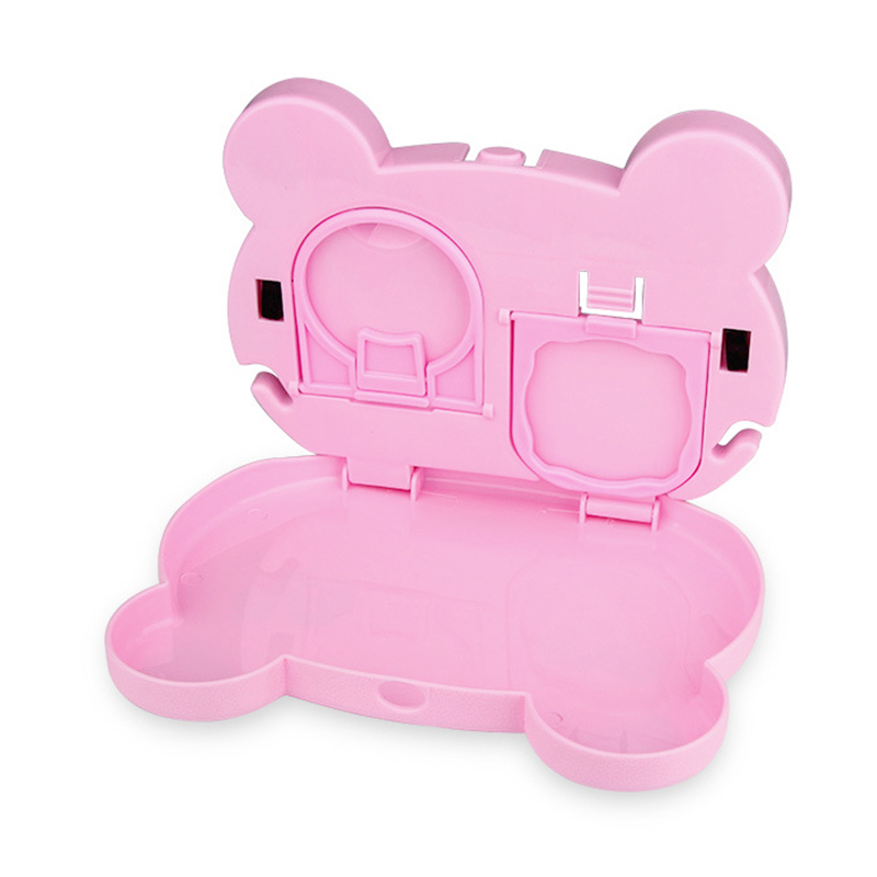 Foldable Car Back Seat Tray Drink Bottle Cup Holder Dining Table Food Organizer for Travel - Pink Pig