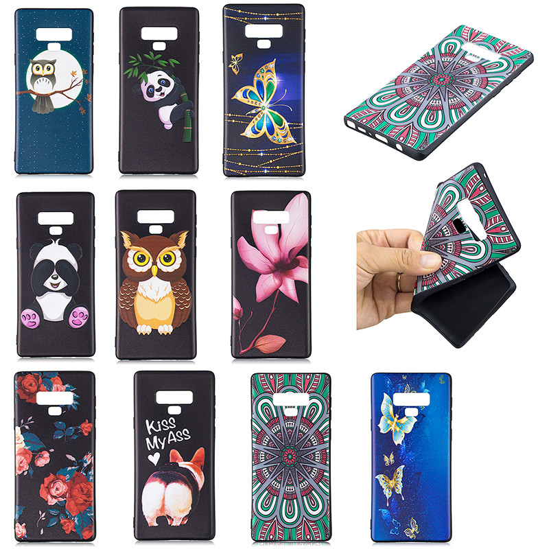 Painting Embossed Flexible TPU Case Soft Rubber Shockproof Back Cover for Samsung Note 9 - Pattern 1
