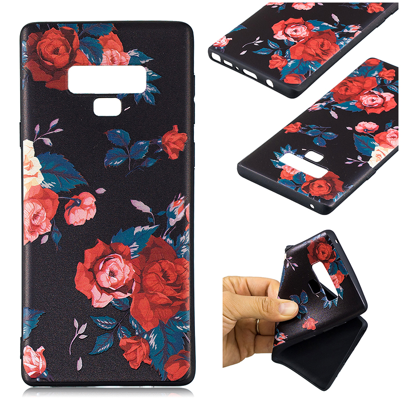 Painting Embossed Flexible TPU Case Soft Rubber Shockproof Back Cover for Samsung Note 9 - Pattern 8