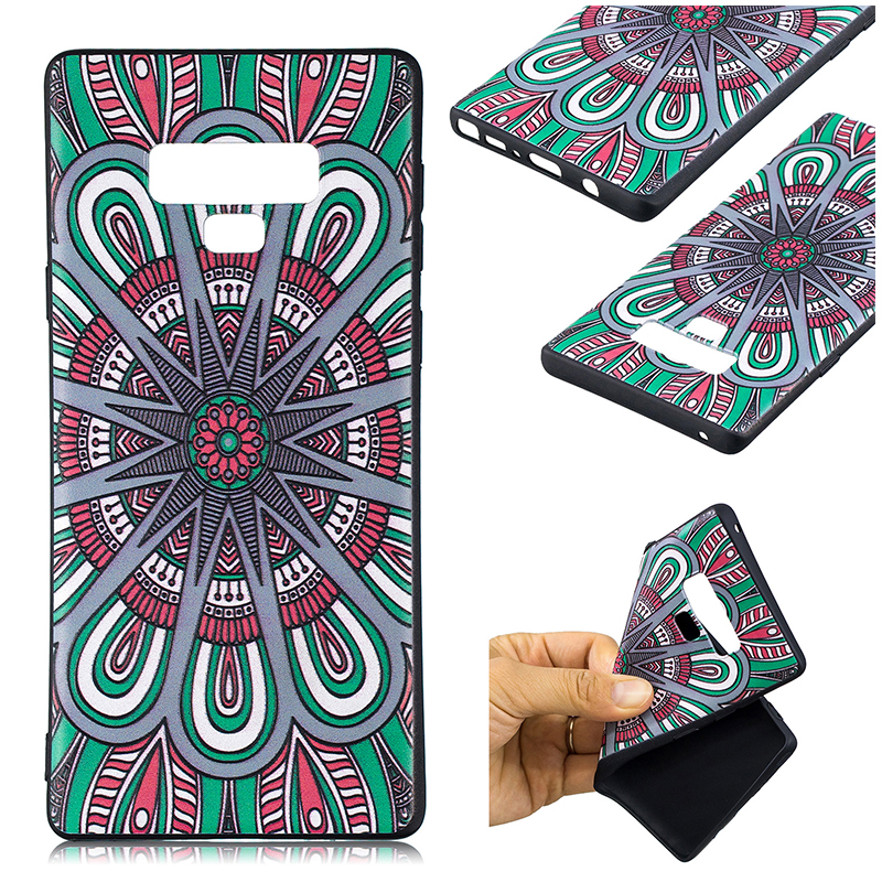 Painting Embossed Flexible TPU Case Soft Rubber Shockproof Back Cover for Samsung Note 9 - Pattern 10