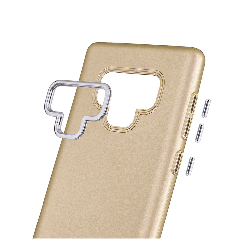 Ultra-Slim Luxury TPU Case Metal Buttons Rubber Bumper Back Cover for Samsung Note 9 - Gold