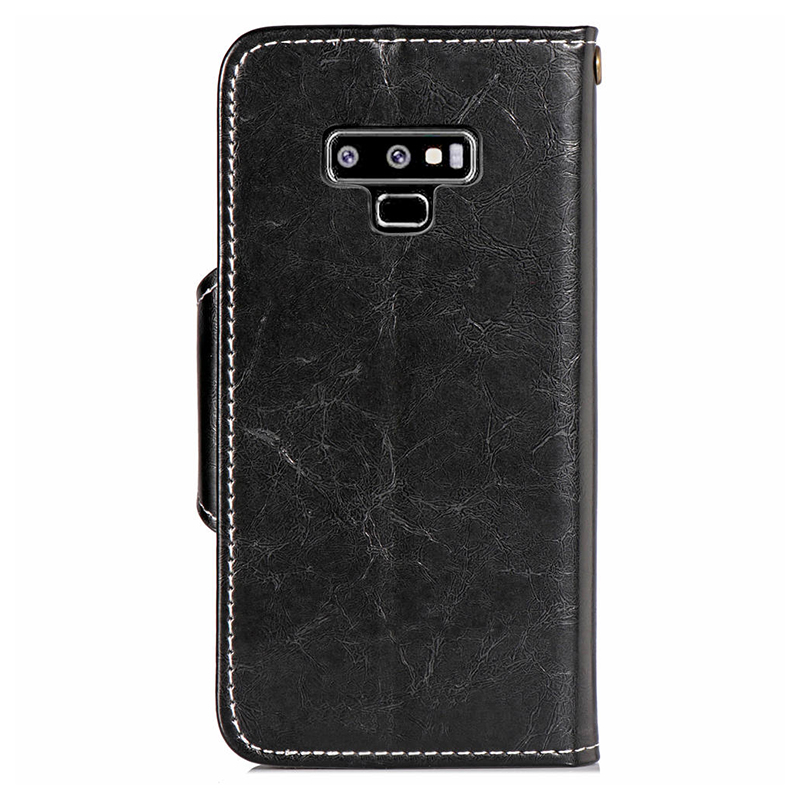 Vintage Retro PU Leather Wallet Case Cover with TPU Bump Rope for Samsung Note 9 - Black