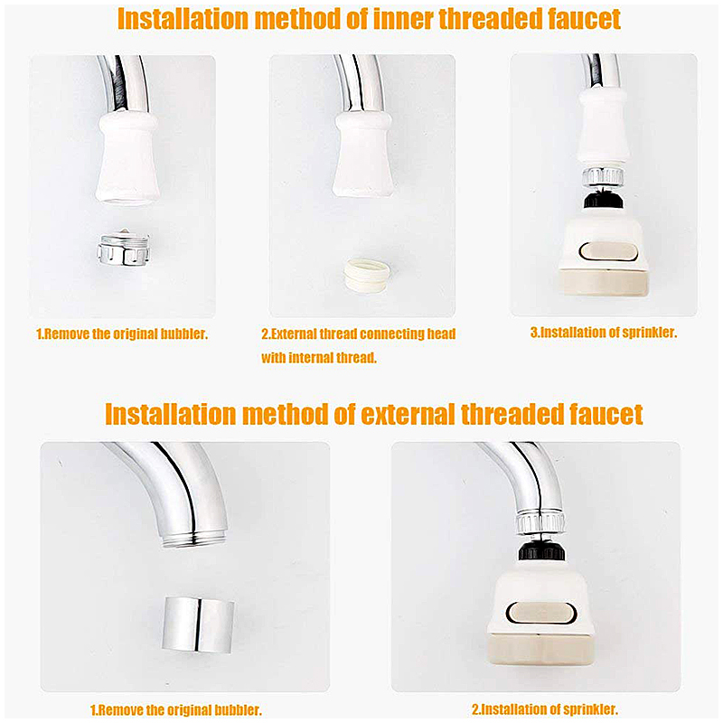Adjustable 360 Degree Rotatable Water Faucet Supercharged Sprinkler Moveable Tap Head Splash Regulator