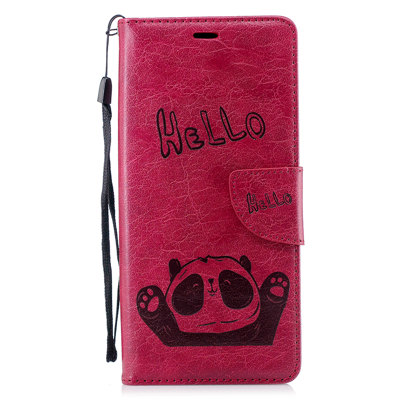 Retro Hello Panda Painting PU Leather Wallet Stand Case Cover for Samsung Note 9 - Red