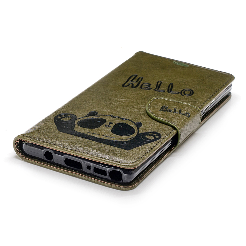 Retro Hello Panda Painting PU Leather Wallet Stand Case Cover for Samsung Note 9 - Army Green