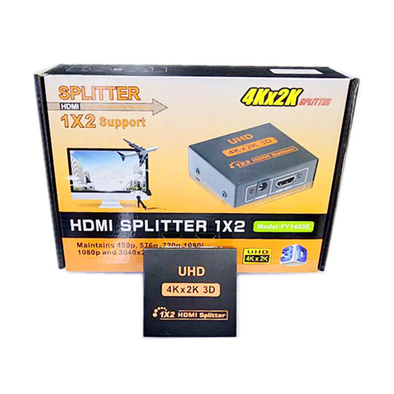 1x2 HDMI Splitter v1.4D View 4K 3D 1080p One Input to Two Output Adapter
