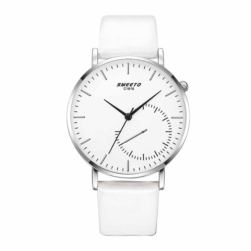 Slim Stylish Male Analog Quartz Sports Synthetic Leather Watch - White