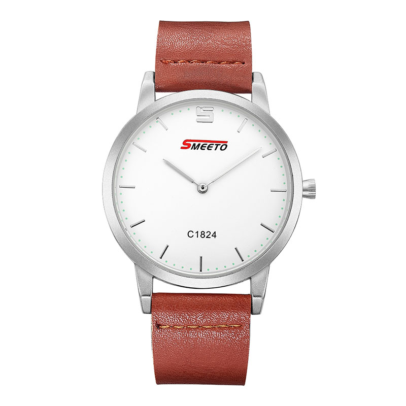 SMEETO C1824 Alloy Case Synthetic Leather Analog Quartz Watches Fashion Men Sports Business Watch - White+Brown