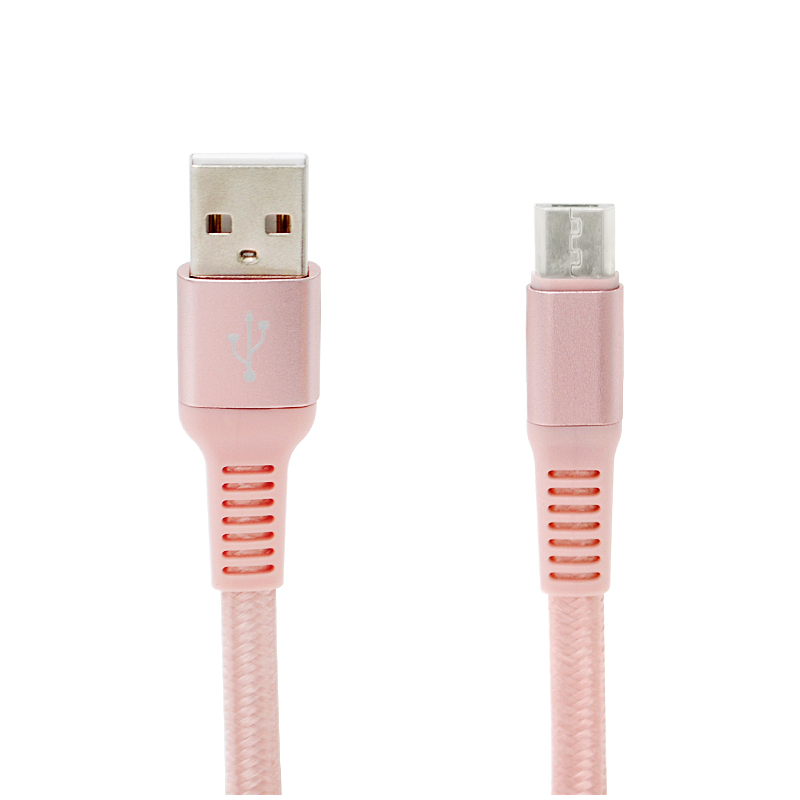 1M Braided Flat Micro USB Charge Sync Cable Charging Cord for Android Phones - Rose Golden