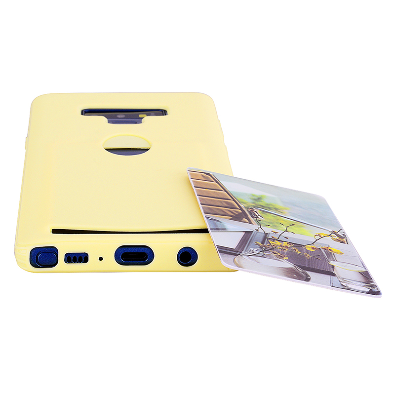 Candy Color Slim Thin Soft TPU Rubber Case Back Cover with Card Slot for Samsung Note 9 - Yellow