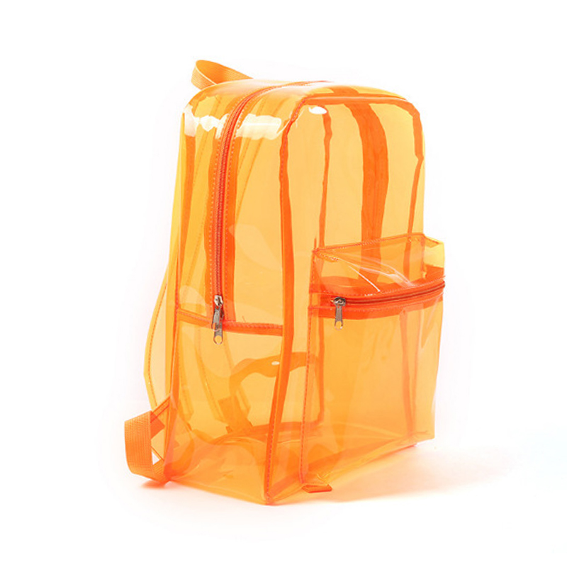Transparent Clear Backpack Adult Kids Student Sports School Travel Bags - Orange