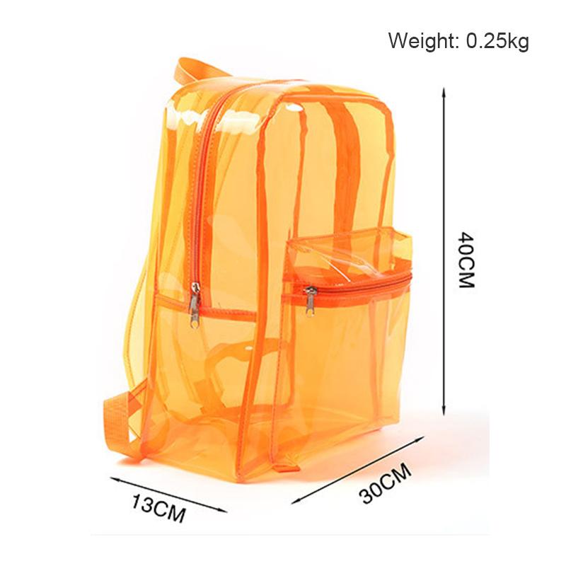 Transparent Clear Backpack Adult Kids Student Sports School Travel Bags - Orange