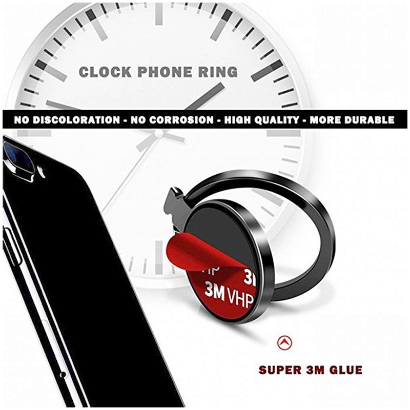 Watch Shaped Cellphone Ring Holder Stand Support Car Mount - Black