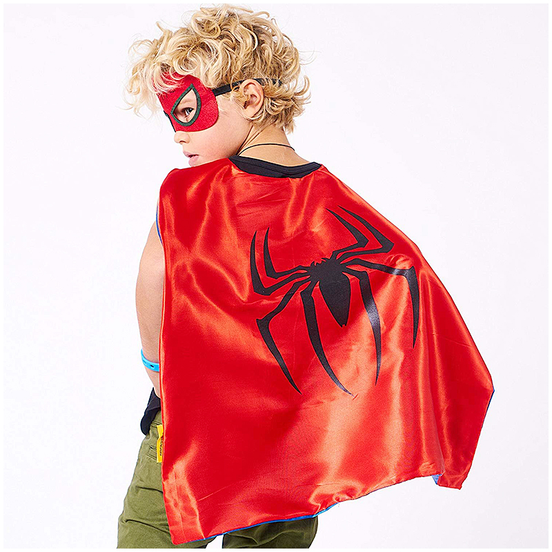 Cape And Mask Superhero Kids Children Halloween Costume Party Cosplay Clothes - Spiderman Red