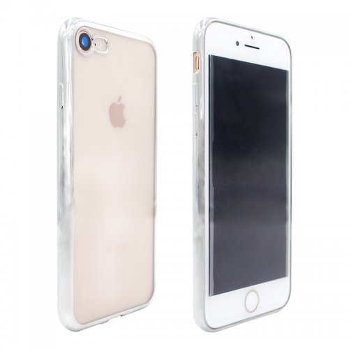 Crystal Shockproof Clear Soft TPU Gel Back Cover Case for iPhone 7 - Silver