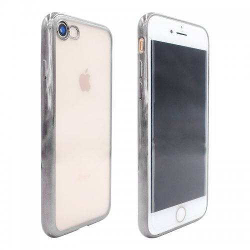 Crystal Shockproof Clear Soft TPU Gel Back Cover Case for iPhone 7 - Black