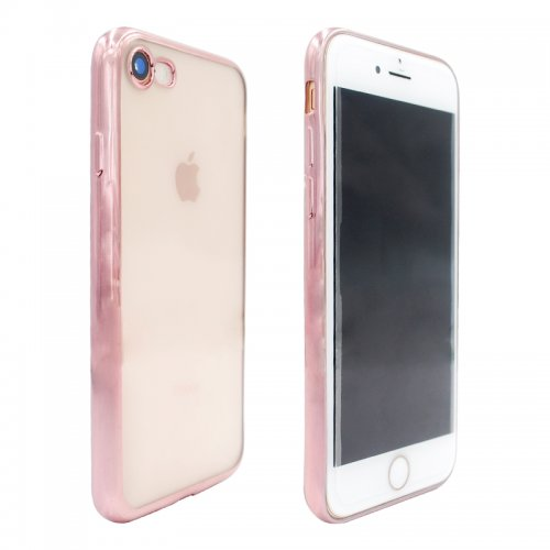 Crystal Shockproof Clear Soft TPU Gel Back Cover Case for iPhone 7 - Rose Gold