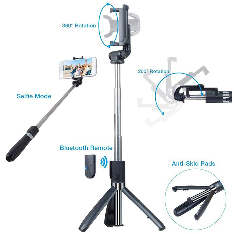 Bluetooth Extendable Selfie Stick with Wireless Remote Tripod Stand Holder for Smartphone - Black